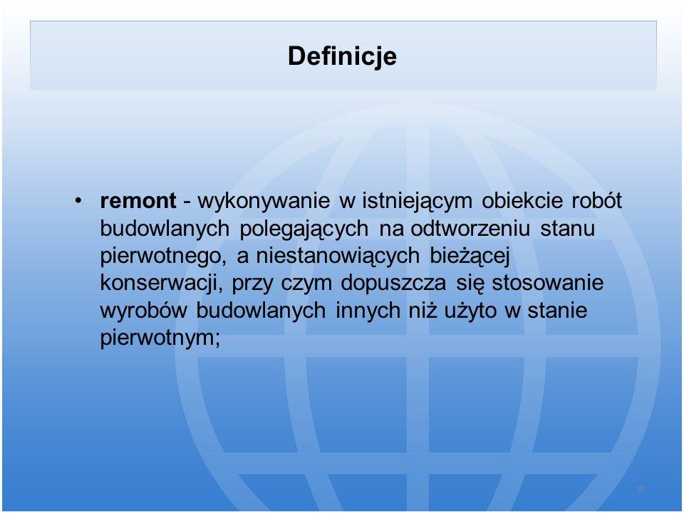 Definicje remont - wykonywanie w istniejącym obiekcie robót budowlanych polegających na odtworzeniu stanu pierwotnego, a niestanowiących bieżącej kons
