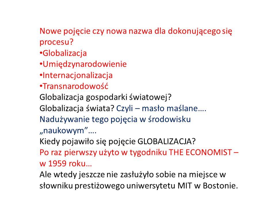 Nowe pojęcie czy nowa nazwa dla dokonującego się procesu? Globalizacja Umiędzynarodowienie Internacjonalizacja Transnarodowość Globalizacja gospodarki