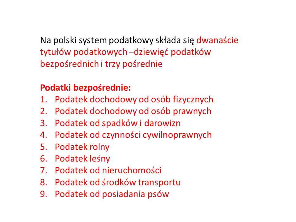 Na polski system podatkowy składa się dwanaście tytułów podatkowych –dziewięć podatków bezpośrednich i trzy pośrednie Podatki bezpośrednie: 1.Podatek