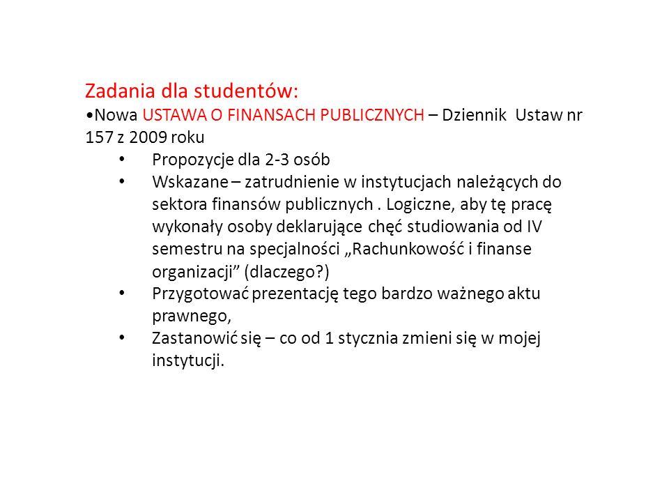 Zadania dla studentów: Nowa USTAWA O FINANSACH PUBLICZNYCH – Dziennik Ustaw nr 157 z 2009 roku Propozycje dla 2-3 osób Wskazane – zatrudnienie w instytucjach należących do sektora finansów publicznych.