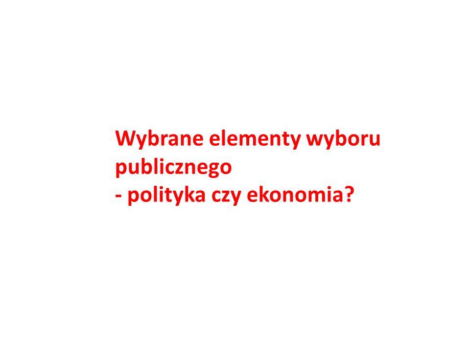 Wybrane elementy wyboru publicznego - polityka czy ekonomia?