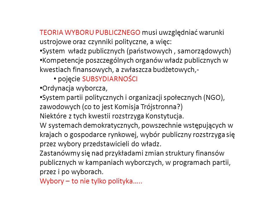 TEORIA WYBORU PUBLICZNEGO musi uwzględniać warunki ustrojowe oraz czynniki polityczne, a więc: System władz publicznych (państwowych, samorządowych) Kompetencje poszczególnych organów władz publicznych w kwestiach finansowych, a zwłaszcza budżetowych,- pojęcie SUBSYDIARNOŚCI Ordynacja wyborcza, System partii politycznych i organizacji społecznych (NGO), zawodowych (co to jest Komisja Trójstronna?) Niektóre z tych kwestii rozstrzyga Konstytucja.