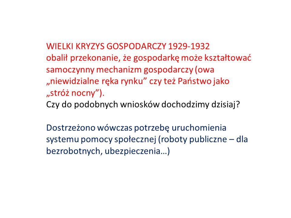 WIELKI KRYZYS GOSPODARCZY 1929-1932 obalił przekonanie, że gospodarkę może kształtować samoczynny mechanizm gospodarczy (owa niewidzialne ręka rynku c