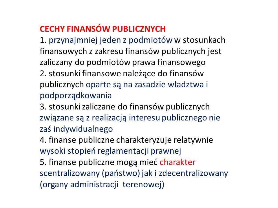 CECHY FINANSÓW PUBLICZNYCH 1. przynajmniej jeden z podmiotów w stosunkach finansowych z zakresu finansów publicznych jest zaliczany do podmiotów prawa