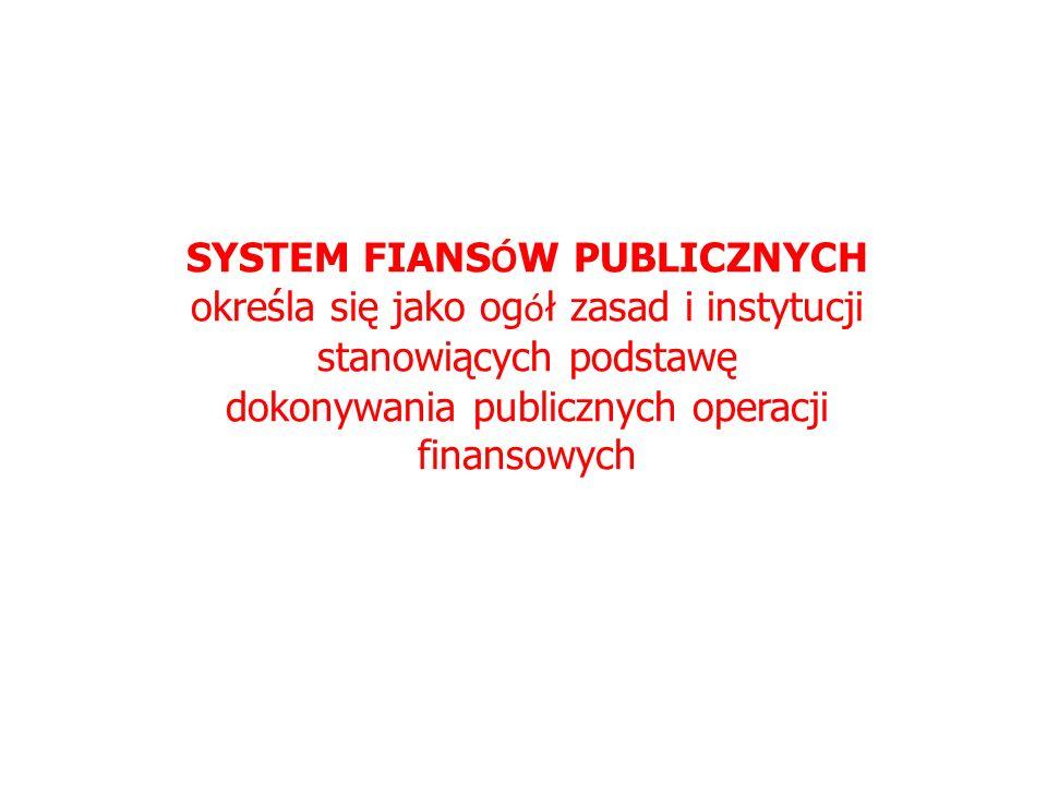 SYSTEM FIANS Ó W PUBLICZNYCH określa się jako og ó ł zasad i instytucji stanowiących podstawę dokonywania publicznych operacji finansowych