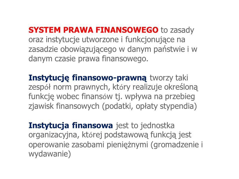 SYSTEM PRAWA FINANSOWEGO to zasady oraz instytucje utworzone i funkcjonujące na zasadzie obowiązującego w danym państwie i w danym czasie prawa finans