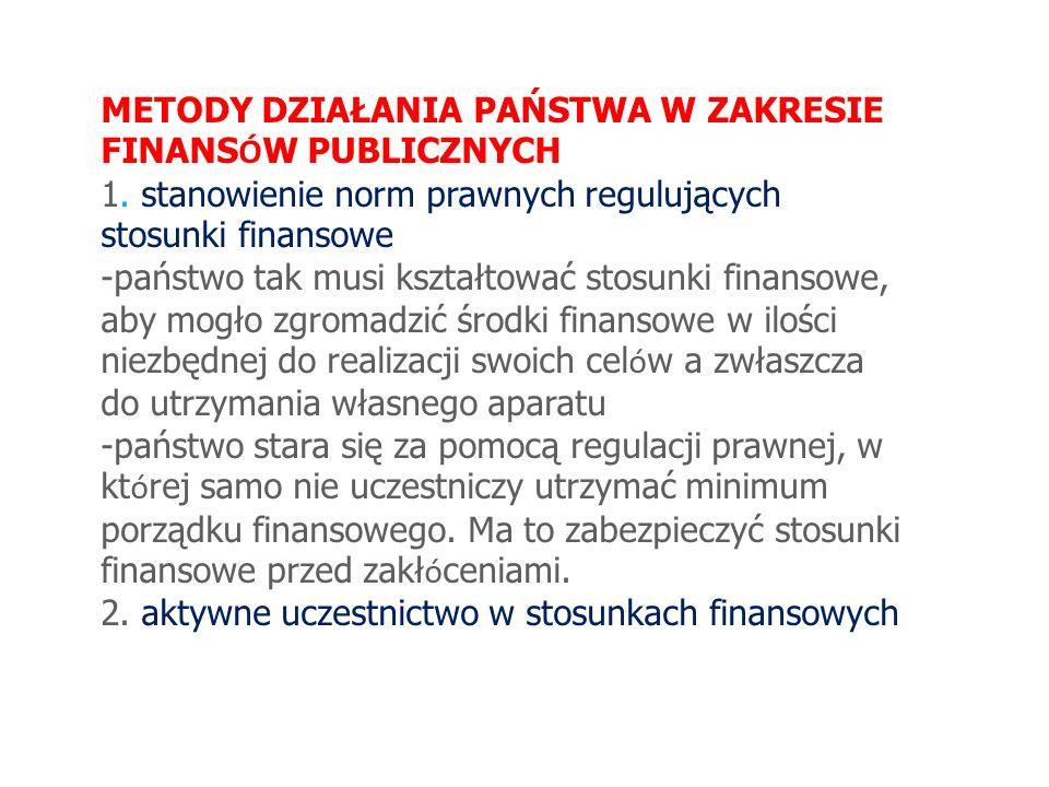 METODY DZIAŁANIA PAŃSTWA W ZAKRESIE FINANS Ó W PUBLICZNYCH 1. stanowienie norm prawnych regulujących stosunki finansowe -państwo tak musi kształtować