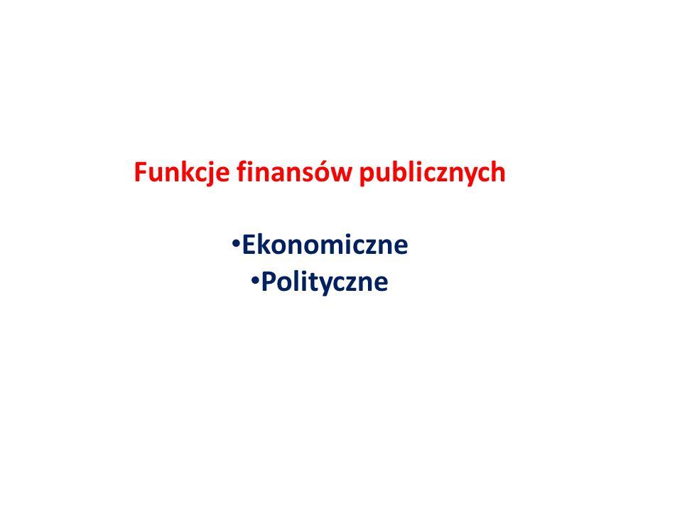 Funkcje finansów publicznych Ekonomiczne Polityczne