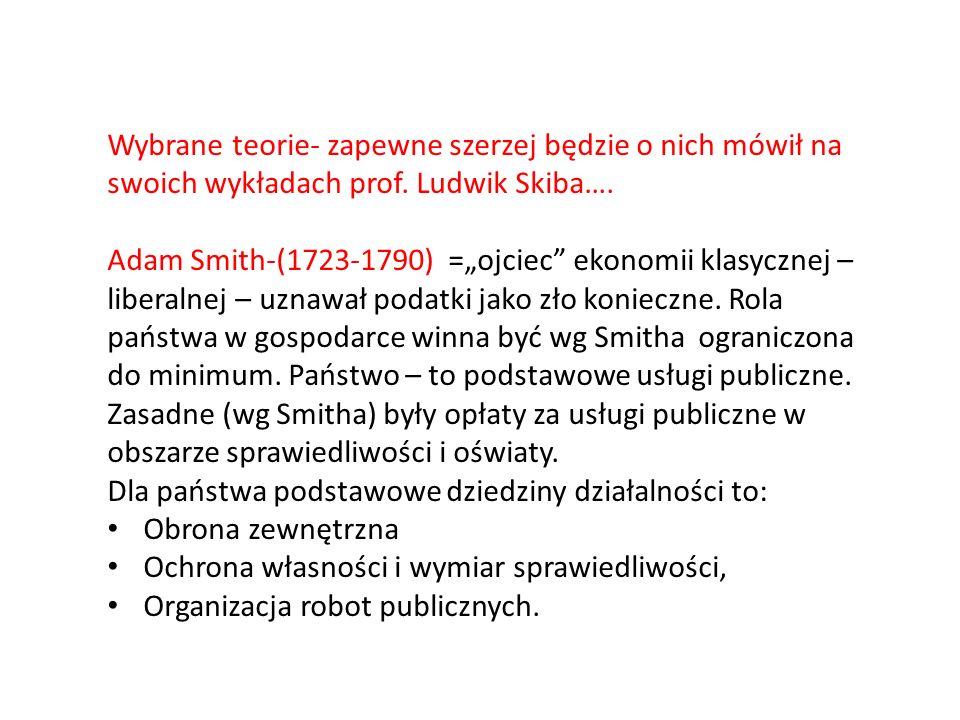 Wybrane teorie- zapewne szerzej będzie o nich mówił na swoich wykładach prof. Ludwik Skiba…. Adam Smith-(1723-1790) =ojciec ekonomii klasycznej – libe