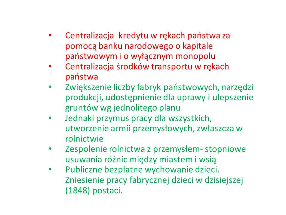 Centralizacja kredytu w rękach państwa za pomocą banku narodowego o kapitale państwowym i o wyłącznym monopolu Centralizacja środków transportu w ręka