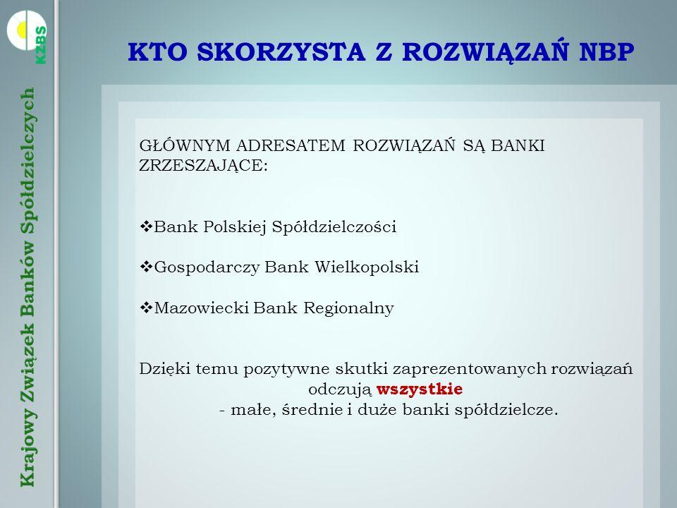 KTO SKORZYSTA Z ROZWIĄZAŃ NBP GŁÓWNYM ADRESATEM ROZWIĄZAŃ SĄ BANKI ZRZESZAJĄCE: Bank Polskiej Spółdzielczości Gospodarczy Bank Wielkopolski Mazowiecki