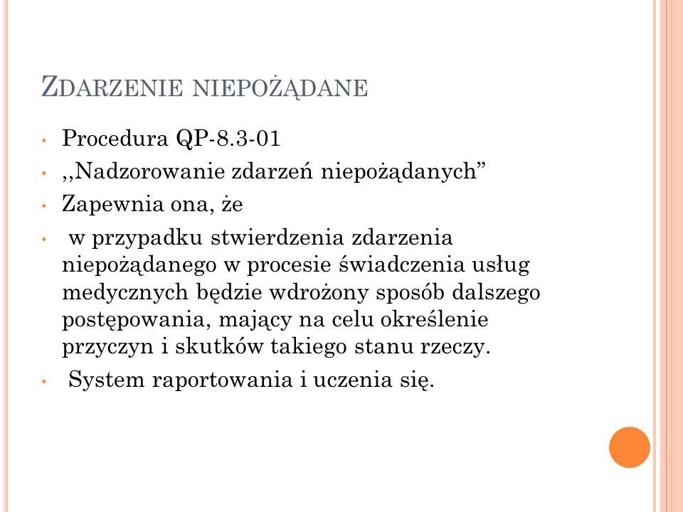Z DARZENIE NIEPOŻĄDANE Procedura QP-8.3-01,,Nadzorowanie zdarzeń niepożądanych Zapewnia ona, że w przypadku stwierdzenia zdarzenia niepożądanego w pro