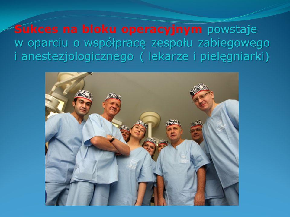powstaje Sukces na bloku operacyjnym powstaje w oparciu o współpracę zespołu zabiegowego i anestezjologicznego ( lekarze i pielęgniarki)