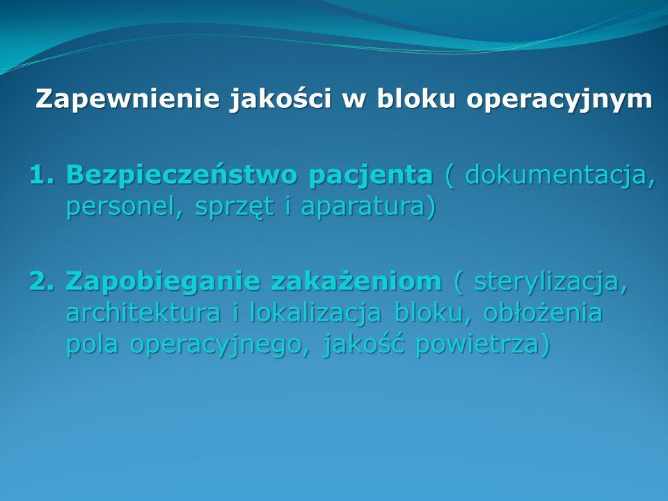 Zapewnienie jakości w bloku operacyjnym 1.Bezpieczeństwo pacjenta ( dokumentacja, personel, sprzęt i aparatura) 2.Zapobieganie zakażeniom ( sterylizac