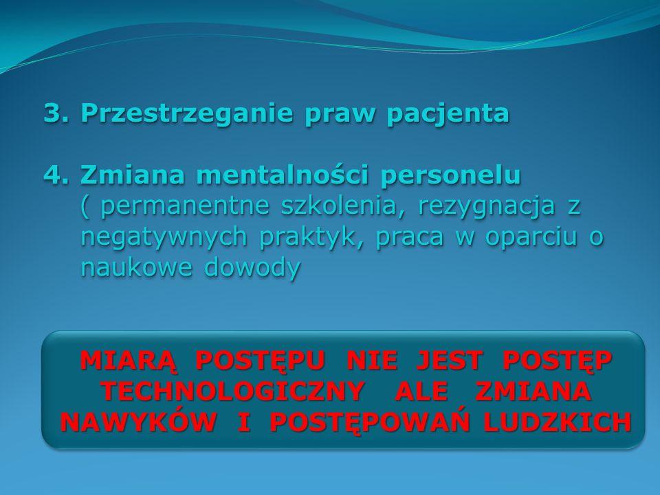 3.Przestrzeganie praw pacjenta 4.Zmiana mentalności personelu ( permanentne szkolenia, rezygnacja z negatywnych praktyk, praca w oparciu o naukowe dow