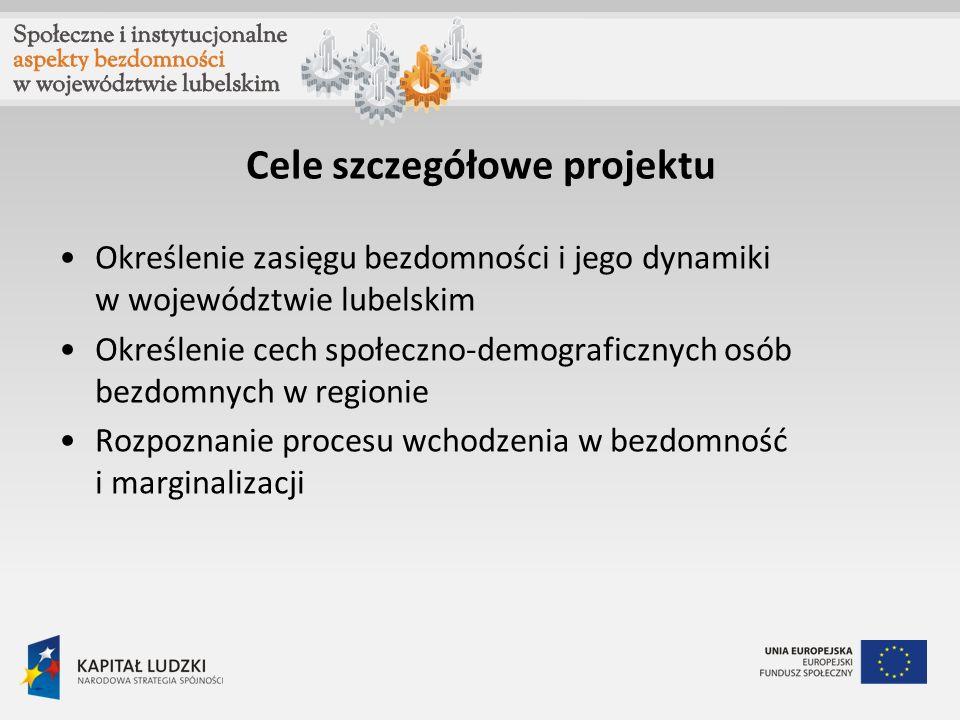 Cele szczegółowe projektu Określenie zasięgu bezdomności i jego dynamiki w województwie lubelskim Określenie cech społeczno-demograficznych osób bezdo