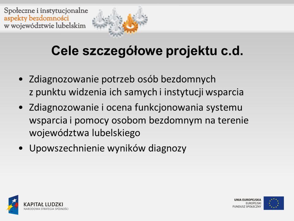 Cele szczegółowe projektu c.d. Zdiagnozowanie potrzeb osób bezdomnych z punktu widzenia ich samych i instytucji wsparcia Zdiagnozowanie i ocena funkcj