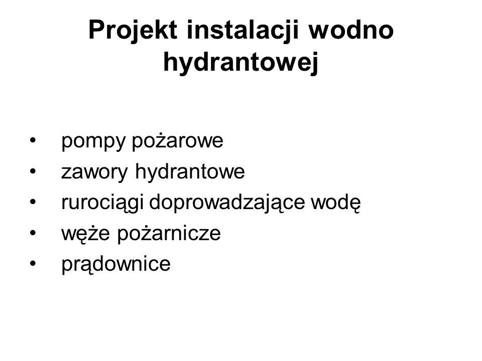 Projekt instalacji wodno hydrantowej pompy pożarowe zawory hydrantowe rurociągi doprowadzające wodę węże pożarnicze prądownice