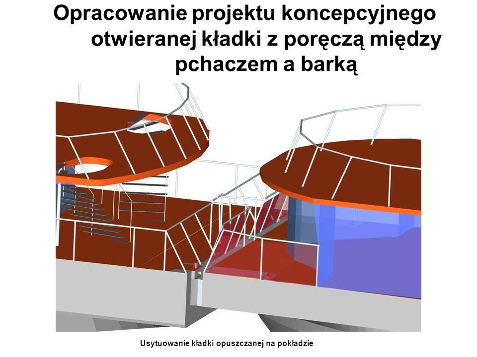 Opracowanie projektu koncepcyjnego otwieranej kładki z poręczą między pchaczem a barką Usytuowanie kładki opuszczanej na pokładzie