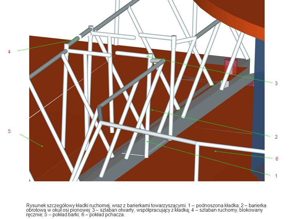 Rysunek szczegółowy kładki ruchomej, wraz z barierkami towarzyszącymi.