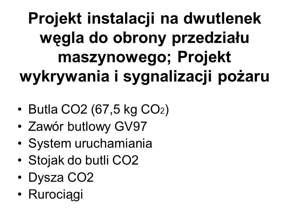 Projekt instalacji na dwutlenek węgla do obrony przedziału maszynowego; Projekt wykrywania i sygnalizacji pożaru Butla CO2 (67,5 kg CO 2 ) Zawór butlowy GV97 System uruchamiania Stojak do butli CO2 Dysza CO2 Rurociągi