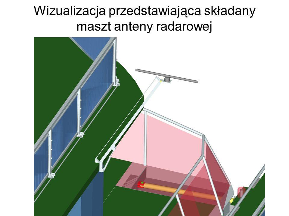 Wizualizacja przedstawiająca składany maszt anteny radarowej
