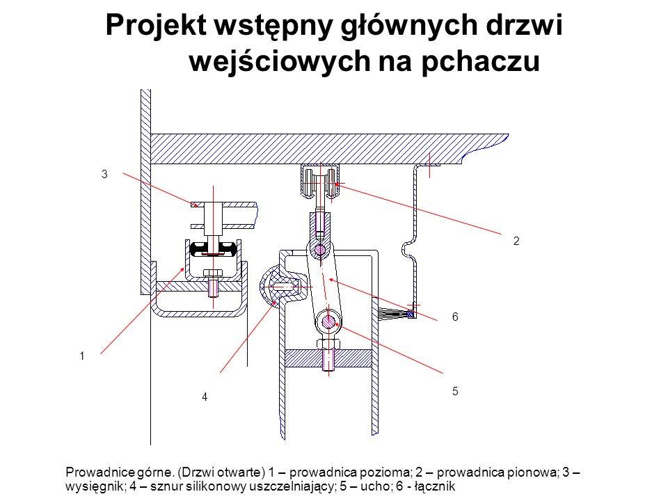 Projekt wstępny głównych drzwi wejściowych na pchaczu Prowadnice górne.