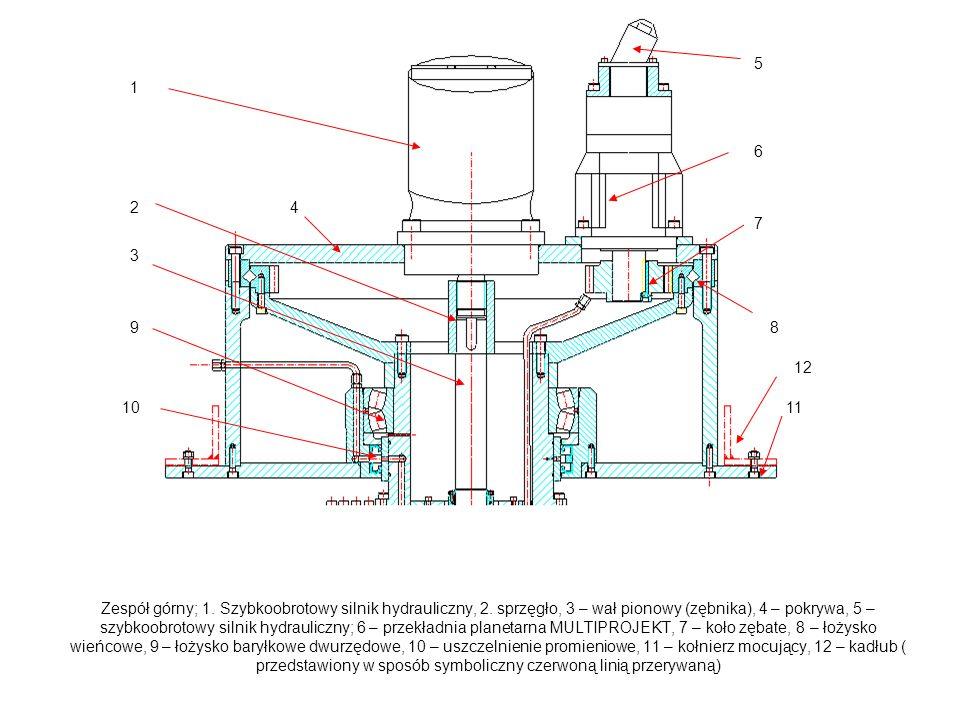 Zespół górny; 1.Szybkoobrotowy silnik hydrauliczny, 2.
