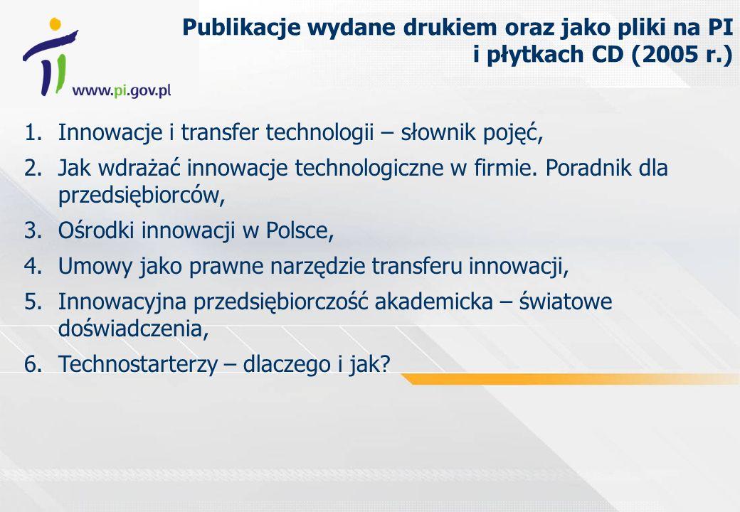 Publikacje wydane drukiem oraz jako pliki na PI i płytkach CD (2005 r.) 7.Analiza stanu i kierunków rozwoju parków naukowo- technologicznych, inkubatorów technologicznych i centrów transferu technologii w Polsce (raport z badań oraz załączniki), 8.Raport z inwentaryzacji Regionalnych Strategii Innowacji (RIS) w Polsce 9.Efekty regionalnych strategii innowacji w Polsce.