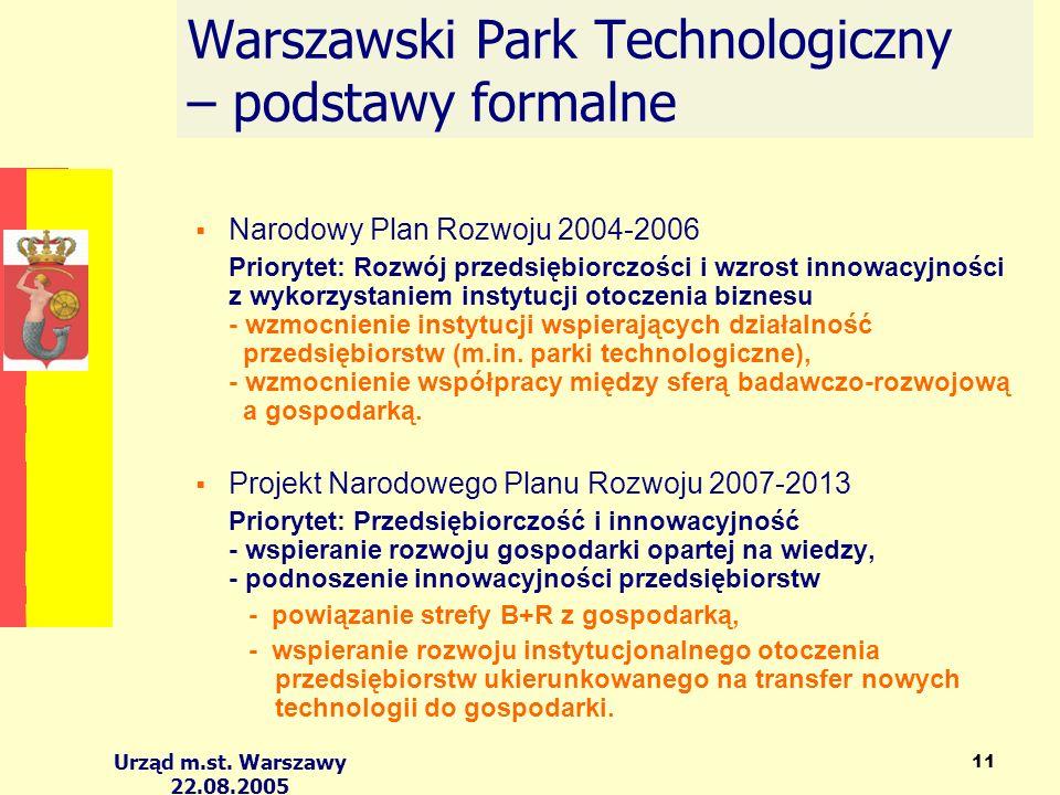 Urząd m.st. Warszawy 22.08.2005 11 Warszawski Park Technologiczny – podstawy formalne Narodowy Plan Rozwoju 2004-2006 Priorytet: Rozwój przedsiębiorcz