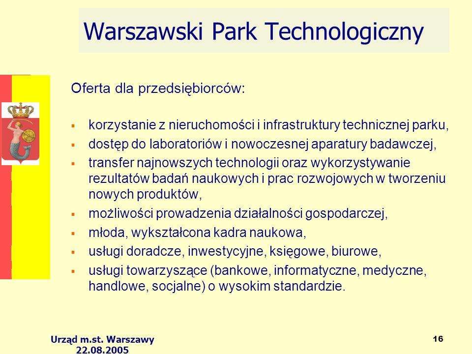 Urząd m.st. Warszawy 22.08.2005 16 Warszawski Park Technologiczny Oferta dla przedsiębiorców: korzystanie z nieruchomości i infrastruktury technicznej