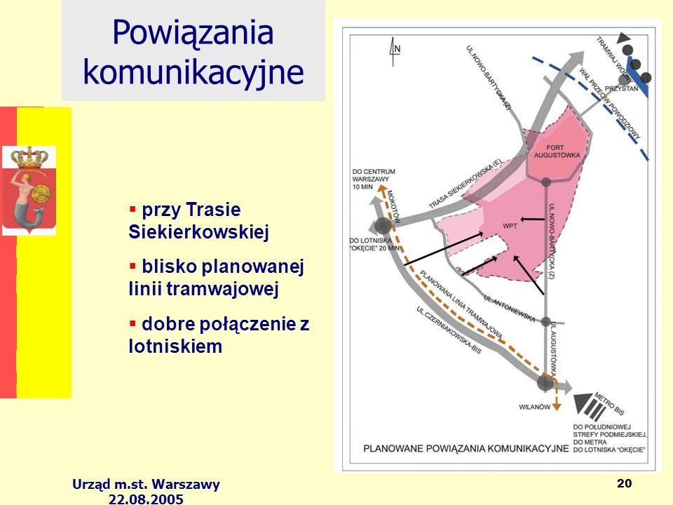 Urząd m.st. Warszawy 22.08.2005 20 Powiązania komunikacyjne przy Trasie Siekierkowskiej blisko planowanej linii tramwajowej dobre połączenie z lotnisk