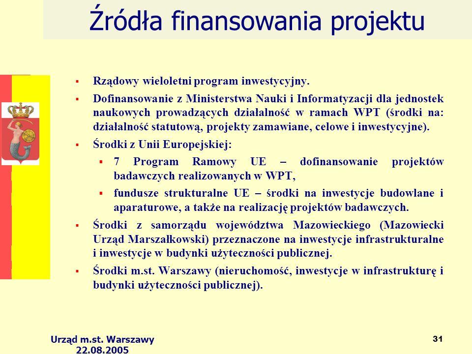 Urząd m.st. Warszawy 22.08.2005 31 Źródła finansowania projektu Rządowy wieloletni program inwestycyjny. Dofinansowanie z Ministerstwa Nauki i Informa