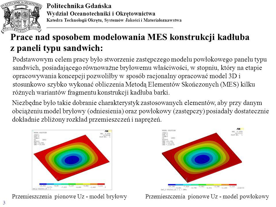 Politechnika Gdańska Wydział Oceanotechniki i Okrętownictwa Katedra Technologii Okrętu, Systemów Jakości i Materiałoznawstwa _______________________________________________________ 14