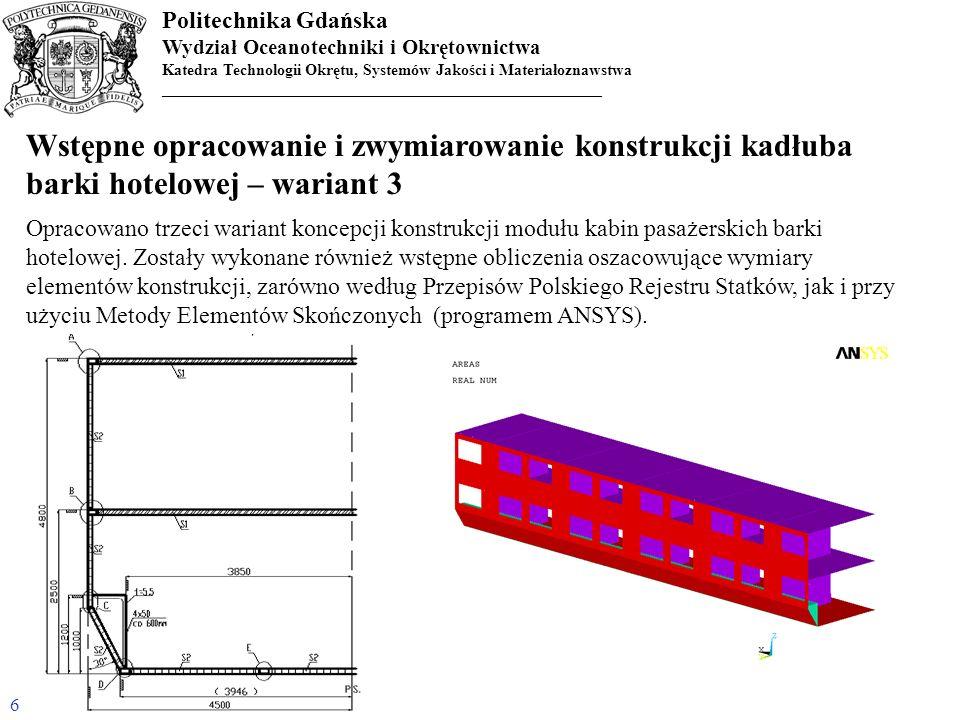 Politechnika Gdańska Wydział Oceanotechniki i Okrętownictwa Katedra Technologii Okrętu, Systemów Jakości i Materiałoznawstwa _______________________________________________________ Podsumowanie Na podstawie wykonanych prac projektowych można stwierdzić, że koncepcja budowy członowego statku rzecznego składającego się w znacznej części z paneli typu sandwich z wypełnieniem jest wykonalna i spełnia przyjęte wstępne założenia projektowe, zarówno co do masy statku jak i maksymalnych gabarytów elementów konstrukcji kadłuba.