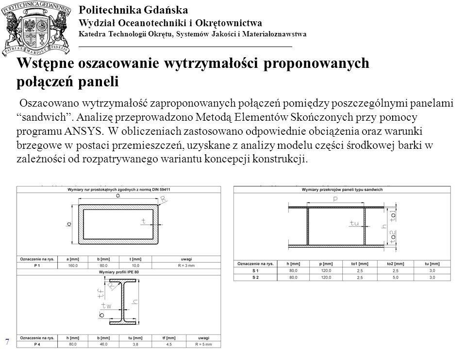Politechnika Gdańska Wydział Oceanotechniki i Okrętownictwa Katedra Technologii Okrętu, Systemów Jakości i Materiałoznawstwa _________________________
