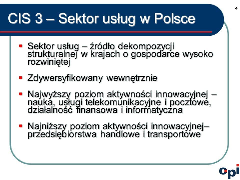 4 CIS 3 – Sektor usług w Polsce Sektor usług – źródło dekompozycji strukturalnej w krajach o gospodarce wysoko rozwiniętej Sektor usług – źródło dekompozycji strukturalnej w krajach o gospodarce wysoko rozwiniętej Zdywersyfikowany wewnętrznie Zdywersyfikowany wewnętrznie Najwyższy poziom aktywności innowacyjnej – nauka, usługi telekomunikacyjne i pocztowe, działalność finansowa i informatyczna Najwyższy poziom aktywności innowacyjnej – nauka, usługi telekomunikacyjne i pocztowe, działalność finansowa i informatyczna Najniższy poziom aktywności innowacyjnej– przedsiębiorstwa handlowe i transportowe Najniższy poziom aktywności innowacyjnej– przedsiębiorstwa handlowe i transportowe Sektor usług – źródło dekompozycji strukturalnej w krajach o gospodarce wysoko rozwiniętej Sektor usług – źródło dekompozycji strukturalnej w krajach o gospodarce wysoko rozwiniętej Zdywersyfikowany wewnętrznie Zdywersyfikowany wewnętrznie Najwyższy poziom aktywności innowacyjnej – nauka, usługi telekomunikacyjne i pocztowe, działalność finansowa i informatyczna Najwyższy poziom aktywności innowacyjnej – nauka, usługi telekomunikacyjne i pocztowe, działalność finansowa i informatyczna Najniższy poziom aktywności innowacyjnej– przedsiębiorstwa handlowe i transportowe Najniższy poziom aktywności innowacyjnej– przedsiębiorstwa handlowe i transportowe
