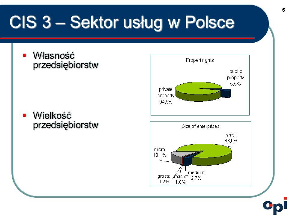 5 CIS 3 – Sektor usług w Polsce Własność przedsiębiorstw Własność przedsiębiorstw Wielkość przedsiębiorstw Wielkość przedsiębiorstw Własność przedsiębiorstw Własność przedsiębiorstw Wielkość przedsiębiorstw Wielkość przedsiębiorstw