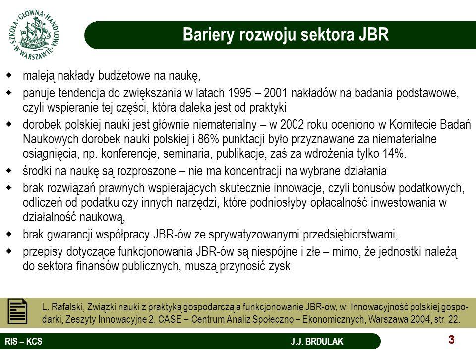 RIS – KCS J.J. BRDULAK 3 L. Rafalski, Związki nauki z praktyką gospodarczą a funkcjonowanie JBR-ów, w: Innowacyjność polskiej gospo- darki, Zeszyty In