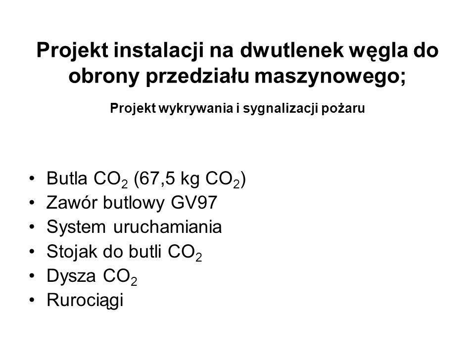 Projekt instalacji na dwutlenek węgla do obrony przedziału maszynowego; Projekt wykrywania i sygnalizacji pożaru Butla CO 2 (67,5 kg CO 2 ) Zawór butl