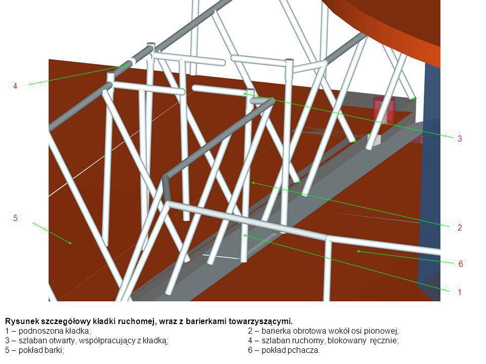 Rysunek szczegółowy kładki ruchomej, wraz z barierkami towarzyszącymi. 1 – podnoszona kładka;2 – barierka obrotowa wokół osi pionowej; 3 – szlaban otw