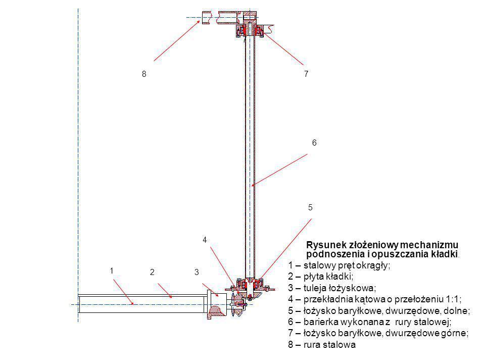 Rysunek złożeniowy mechanizmu podnoszenia i opuszczania kładki. 1 – stalowy pręt okrągły; 2 – płyta kładki; 3 – tuleja łożyskowa; 4 – przekładnia kąto