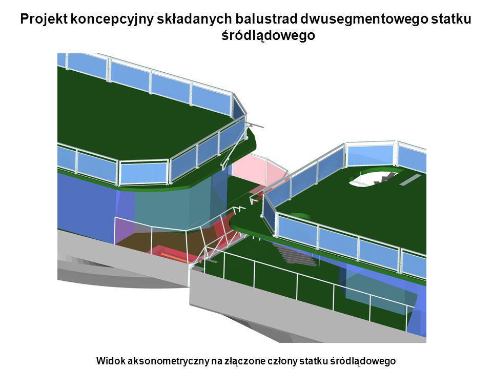 Projekt koncepcyjny składanych balustrad dwusegmentowego statku śródlądowego Widok aksonometryczny na złączone człony statku śródlądowego