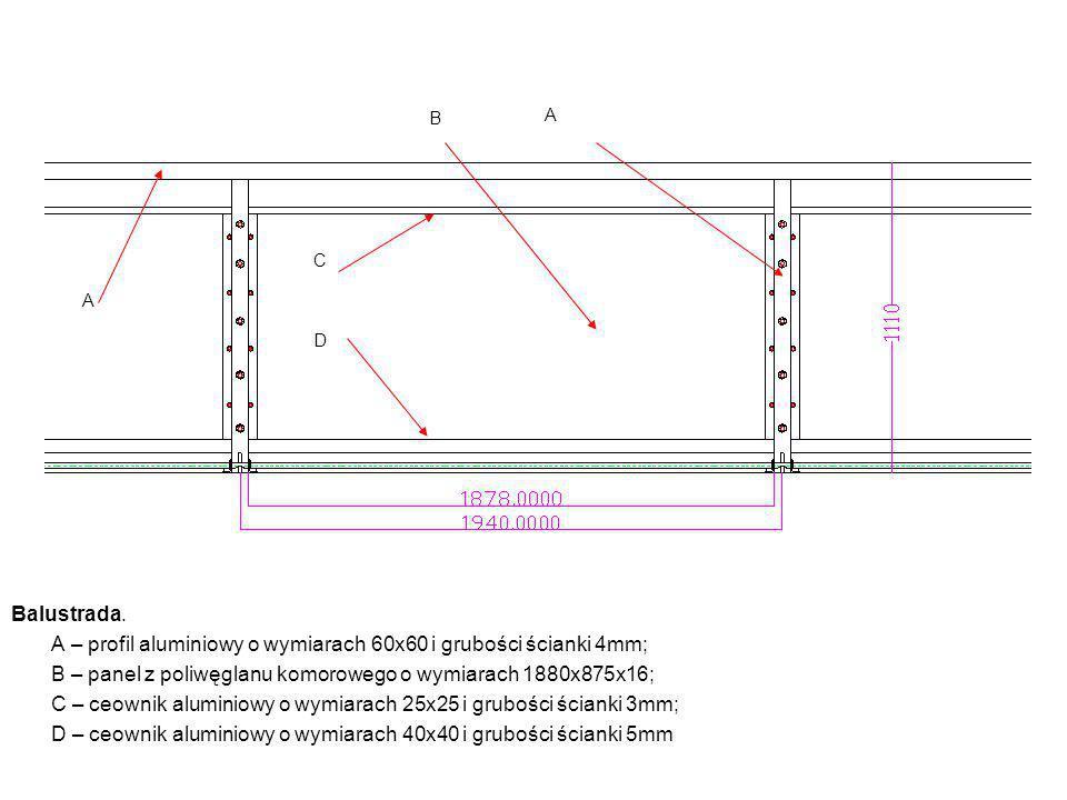 Balustrada. A – profil aluminiowy o wymiarach 60x60 i grubości ścianki 4mm; B – panel z poliwęglanu komorowego o wymiarach 1880x875x16; C – ceownik al