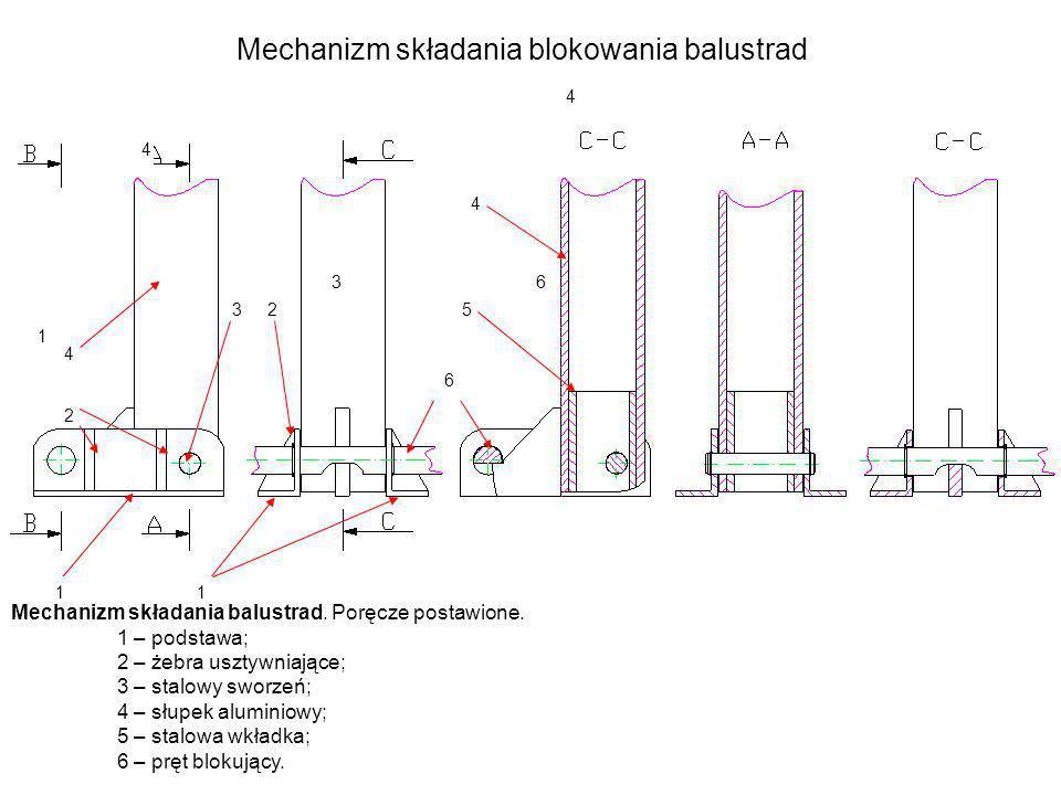 Mechanizm składania blokowania balustrad Mechanizm składania balustrad. Poręcze postawione. 1 – podstawa; 2 – żebra usztywniające; 3 – stalowy sworzeń
