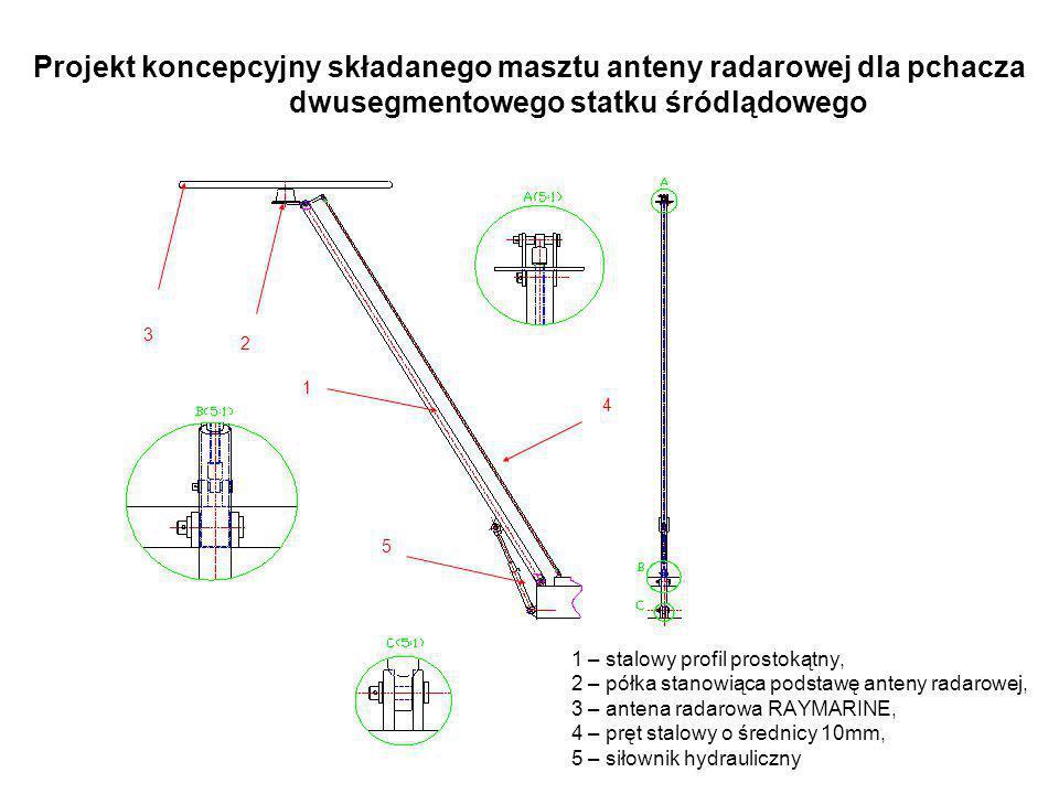 Projekt koncepcyjny składanego masztu anteny radarowej dla pchacza dwusegmentowego statku śródlądowego 1 – stalowy profil prostokątny, 2 – półka stano