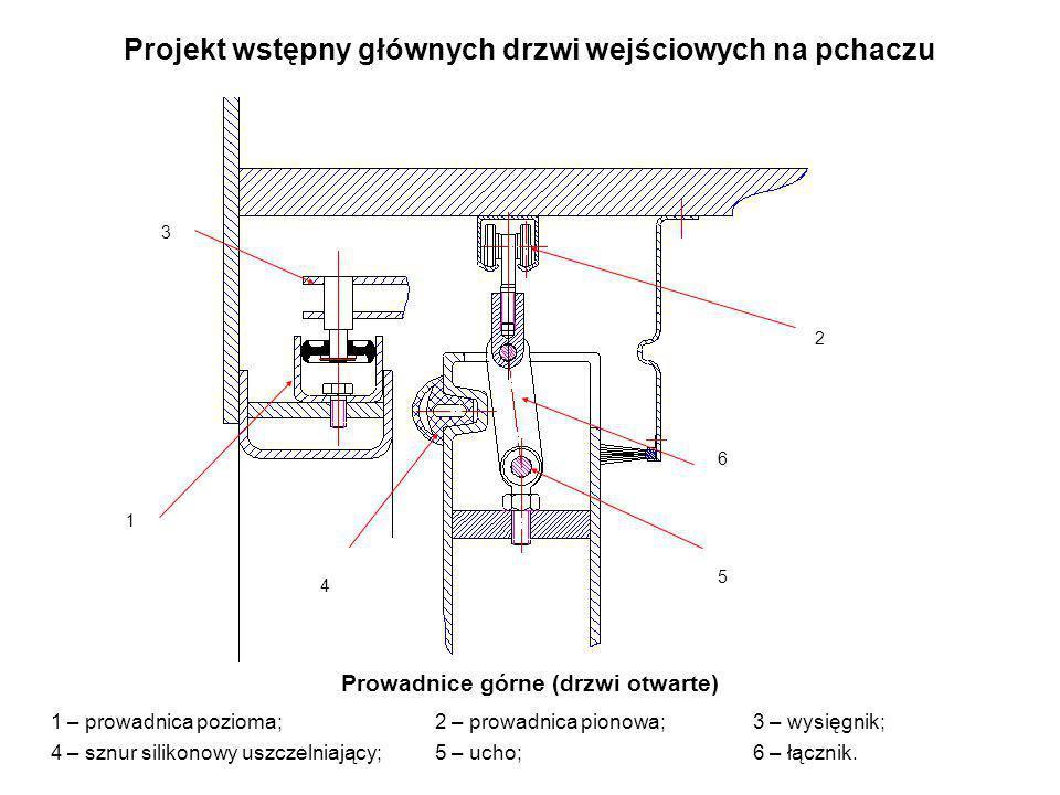 Projekt wstępny głównych drzwi wejściowych na pchaczu Prowadnice górne (drzwi otwarte) 1 – prowadnica pozioma; 2 – prowadnica pionowa; 3 – wysięgnik;