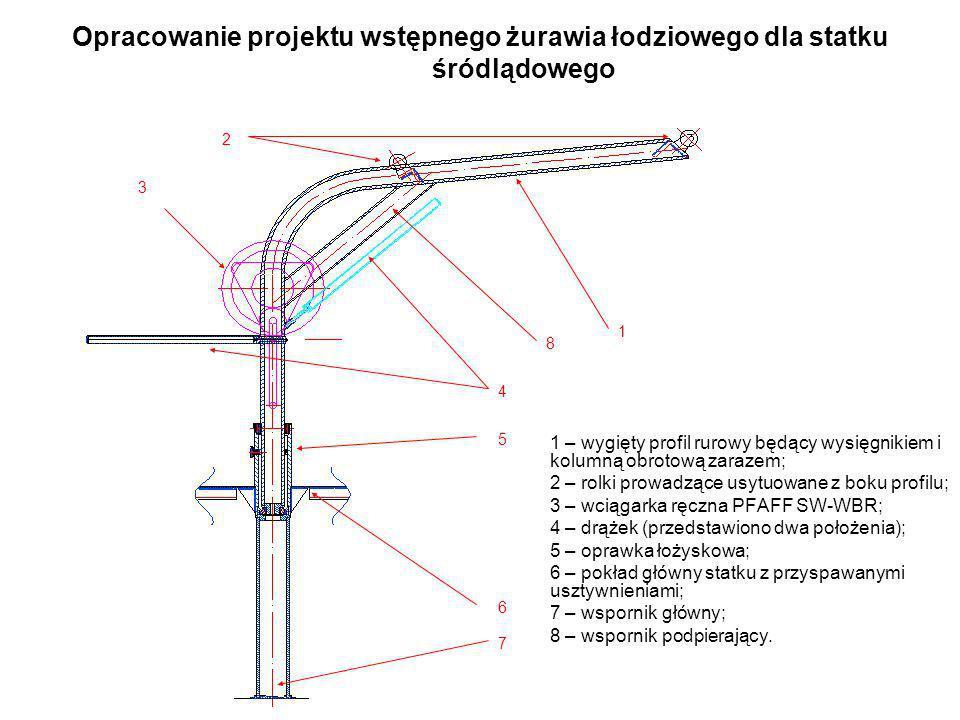 Opracowanie projektu wstępnego żurawia łodziowego dla statku śródlądowego 1 – wygięty profil rurowy będący wysięgnikiem i kolumną obrotową zarazem; 2