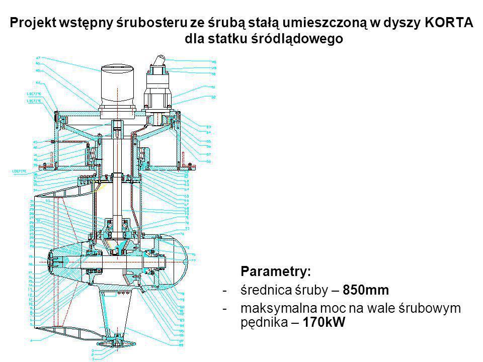 Projekt wstępny śrubosteru ze śrubą stałą umieszczoną w dyszy KORTA dla statku śródlądowego Parametry: -średnica śruby – 850mm -maksymalna moc na wale