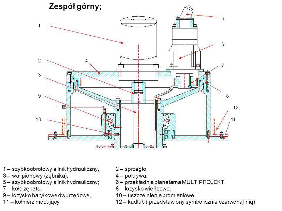 1 – szybkoobrotowy silnik hydrauliczny, 2 – sprzęgło, 3 – wał pionowy (zębnika),4 – pokrywa, 5 – szybkoobrotowy silnik hydrauliczny;6 – przekładnia pl